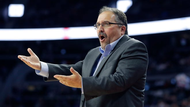 Detroit Pistons head coach Stan Van Gundy reacts after a call during the first half.