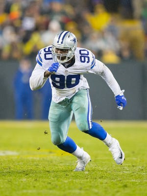 Dallas Cowboys defensive end DeMarcus Lawrence (90) during the game against the Green Bay Packers at Lambeau Field.  Green Bay won 28-7.