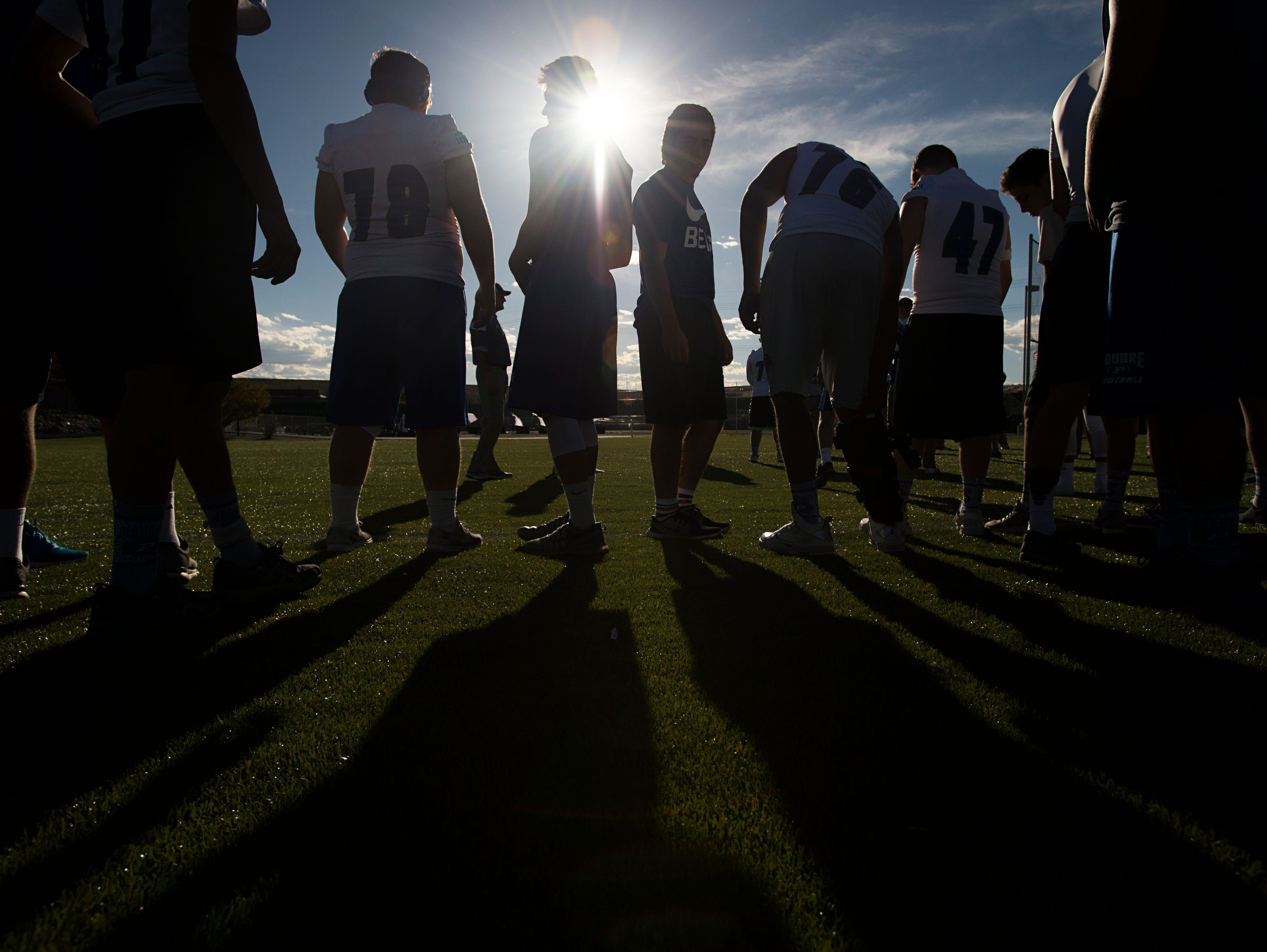 4:27 p.m. - Poudre High School football players line up in formation to run through a few plays at EchoPark Stadium Thursday, October 13, 2016.