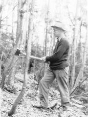 Road engineer and early ski trail designer, Charlie Lord, helped Roland Palmedo clear the first of Mad River Glen's trails.