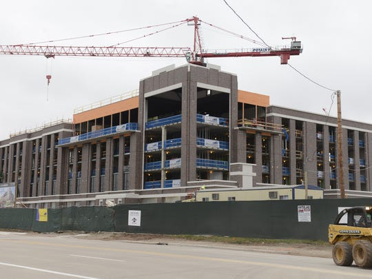 Progress continues on the Lodge Kohler hotel in the Titletown District.