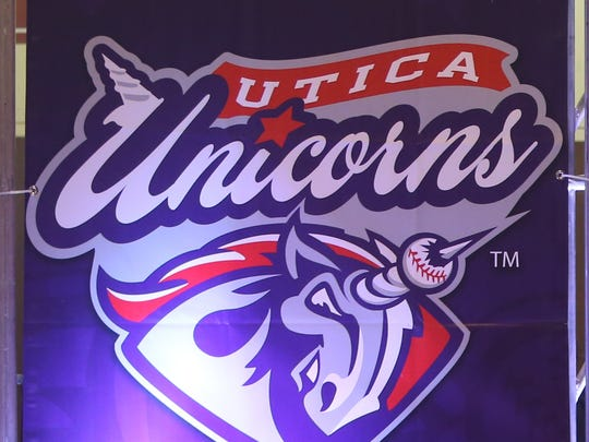 The Utica Unicorns logo one of the teams that will play in the United Shore Professional Baseball League at the new Jimmy Johns baseball field where construction continued Monday, November 23, 2015 at in Utica, Michigan.