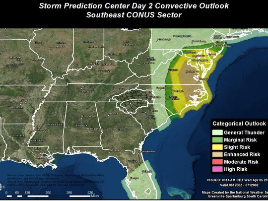 There is a marginal risk for severe weather April 6