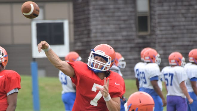 Louisiana College quarterback Easton Melancon is on the verge of breaking school records in passing.