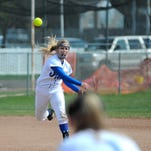 Havre shortstop Paige Henderson tosses to first base for an out in a game against Conrad-Choteau earlier this season.