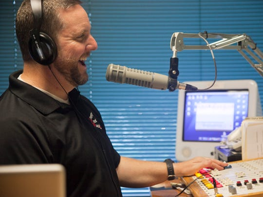 Bryan Hyde works on his morning show with Dr. T (Tim Nesmith). He is happy to be back on the local station and looks forward to the future of Cherry Creek radio.