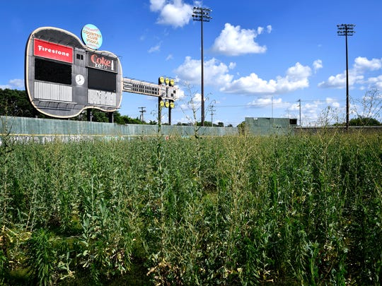 Greer Stadium, the old Sounds stadium, sits empty and neglected with broken windows and high weeds June 13, 2017.