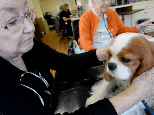 Pat Hickman pets a dog at Glen Retirement System, she