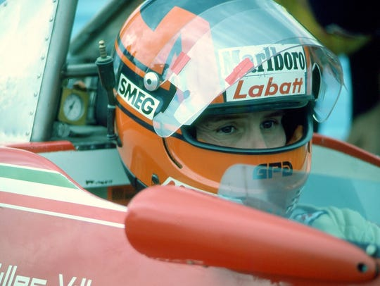 Gilles Villeneuve in his Ferrari Formula One car at