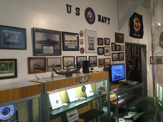 A U.S. Navy display at the museum in Colchester.