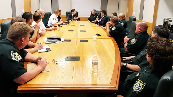 U.S. Sen. Marco Rubio, R-Florida, meets with local officials on Monday, April 18, 2017, to discuss the opioid crisis in Florida.