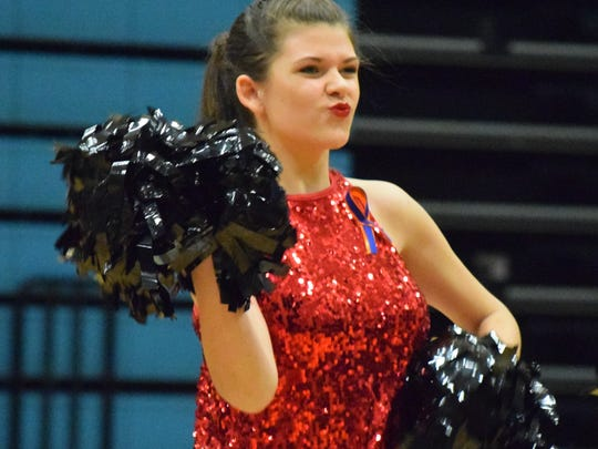 Rayleigh Blackburn works the crowd during the UCMS performance Saturday.