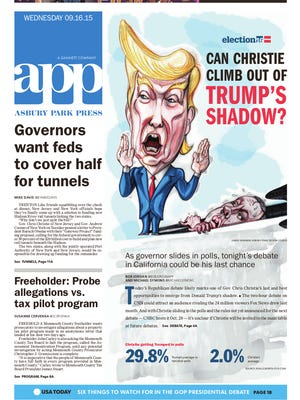 Asbury Park Press front page, Wednesday, September 16, 2015