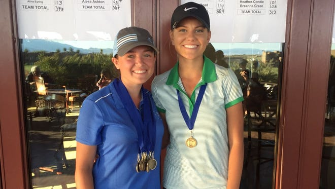 Dixie's Gracie Richens (left) won her seventh consecutive region tournament at The Ledges to tie a Region 9 record.