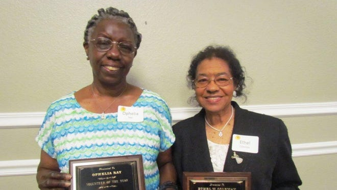 The Escambia Retired Educators Association has named Ophelia Ray, left, the 2017 Volunteer of the Year and Ethel Coleman as the 2017 Educator of the Year.