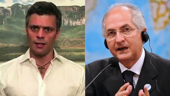 A combination picture shows Venezuelan opposition leader Leopoldo Lopez, left, and Caracas Mayor Antonio Ledezma.
