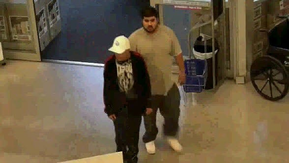 Police are looking for these two men who are suspected of taking four Yeti coolers on Jan. 10, 2017.