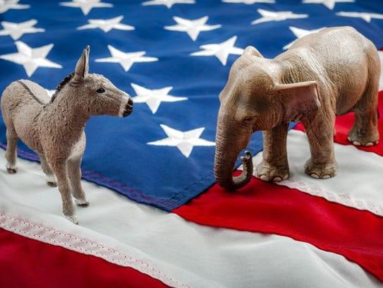 The Democrat donkey and Republican elephant squaring
