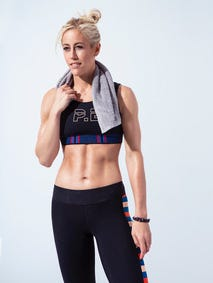 Lacey Stone's routine for getting this fit: workouts seven times a week, very little alcohol, eight hours of sleep a night, lots of water and low-carb foods.