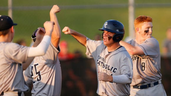 Adam Dienhart celebrates with his Central Catholic