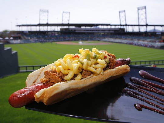 The Mega Dog is shown at Chase Field.