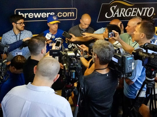 Brewers manager Craig Counsell answers questions about