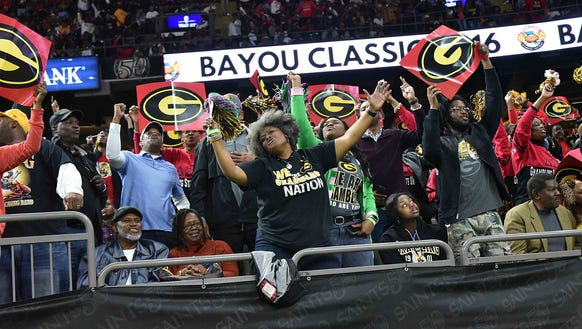 Grambling fans cheer on the Tigers during Saturday's