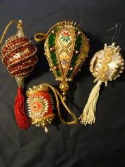 Four heirloom ornaments made by Georgiann's aunt, Dorothy Aly, over 50 years ago.