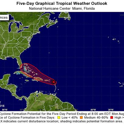 A tropical wave near the Caribbean has a high chance