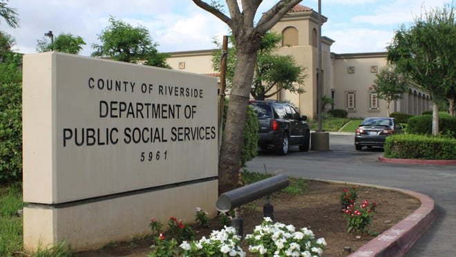 The entrance to a Riverside County Department of Public Social Services building in Rubidoux.