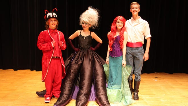Lead cast members of SNAP Musical Theatre's 2016 summer production of The Little Mermaid are (from left) Nick Novellin (Sebastin), Domenique D'Amico (Ursula), Jaylen Kelly (Arielle) and Morgan Jansson (Prince Erik).