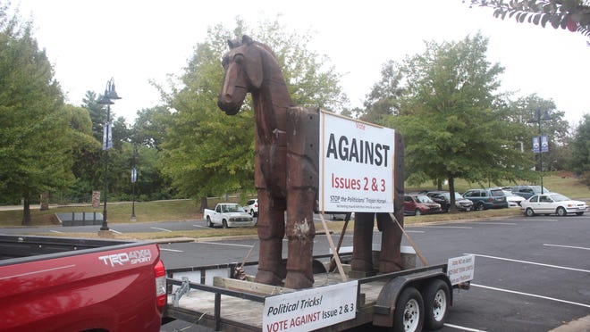 A Trojan horse urging Arkansas to vote against Issues 2 and 3 was driven across the state by a member of Protect AR Voices. Tom Steele of the group drove the Trojan horse through Fort Smith on Monday, Oct. 19, 2020.