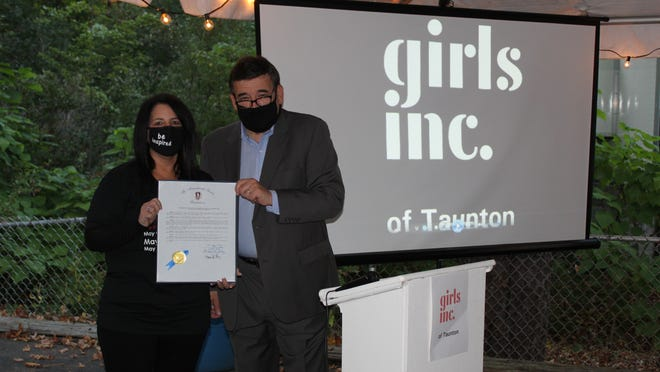 Sen. Marc Pacheco presented Heidi Taylor with a resolution from the state for being honored as Girls Inc. of Taunton's  Woman of Achievement at its 14th annual event on Oct. 2, 2020.