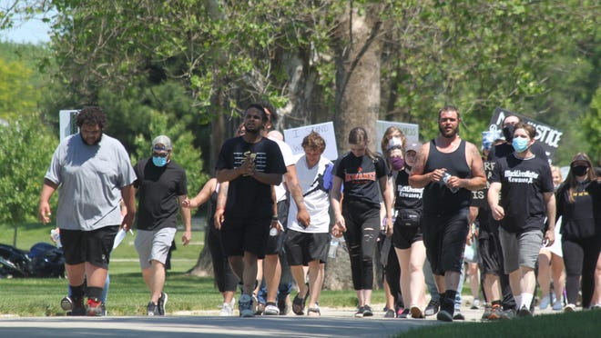 Marchers at Saturday's Black Lives Matter protest started at City Hall and ended in Northeast Park.