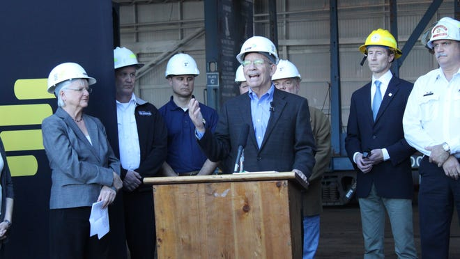 U.S. Rep. Peter DeFazio, D-Ore., talks about oil train safety at a briefing Thursday, March 12, in Springfield.