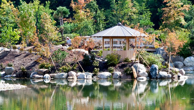 The construction of the Richard & Helen DeVos Japanese Garden features a 2.6 acre pond at Frederik Meijer Gardens in Grand Rapids Tuesday, Sept. 9, 2014. The Grand Rapids Press reports visitors this weekend can tour the eight-acre Japanese garden that's been under construction since July 2012. The Japanese garden is scheduled to open to the public June 13, 2015.