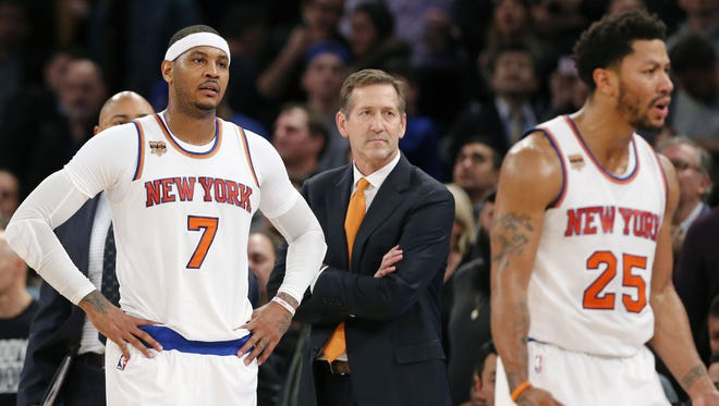 From left, Knicks forward Carmelo Anthony,  head coach Jeff Hornacek and Knicks guard Derrick Rose reacting during a recent difficult loss.