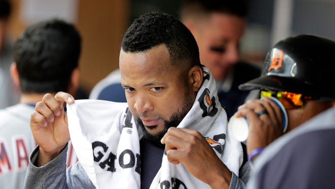 Detroit Tigers starting pitcher Francisco Liriano holds a towel in the dugout following the fourth inning against the Seattle Mariners, Sunday, May 20, 2018, in Seattle.