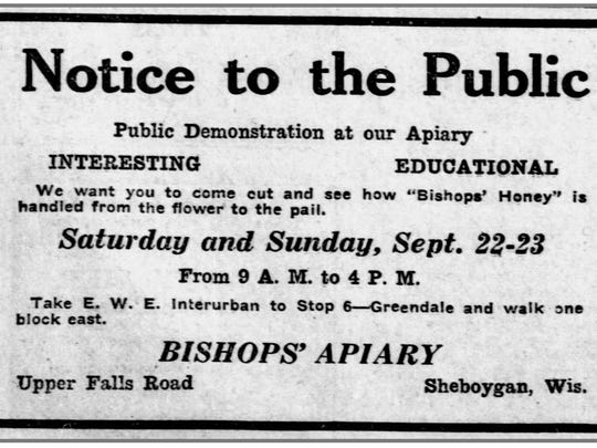 A September 1923 Sheboygan Press ad for a public tour and demonstration at Bishop's Apiary near Greendale.