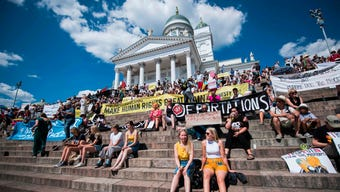 Demonstrators marched in Helsinki on Monday, as US President Donald Trump prepared to meet Russian President Vladimir Putin. Marchers protested a number of issues including racism, facism and the gag rule, which prevents some health providers from talking to patients about abortion. (July 16)