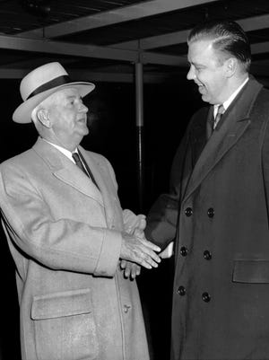 February 19, 1955 - The weather was cold but the greeting was warm in February 1955 when John Roosevelt (right), son of the late president, was welcomed to Memphis by Mayor Frank Tobey. Mr. Roosevelt was in town to address the Rotary Club.