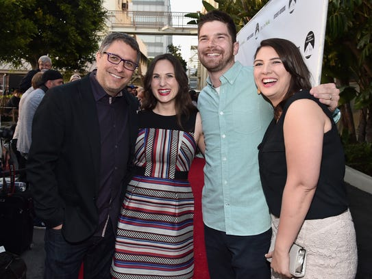 """Director Ira Ungerleider, left, producer Natalia Anderson, writer Alex Jenkins Reid and writer Taylor Jenkins Reid attend the premiere of Paramount and Hulu's """"Resident Advisors"""" at The Sherry Lansing Theatre at Paramount Studios on March 31, 2015 in Los Angeles, California."""