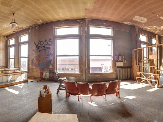 A panoramic photo shows the upstairs of the Fox on