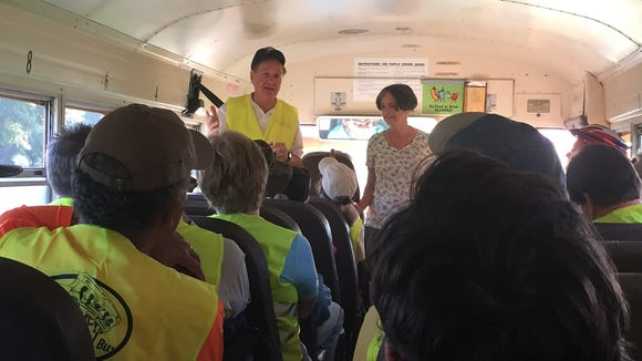 Titusville Mayor Jim Tulley and TPO's Leigh Holt address the First on the Trail group as we boarded the school bus.