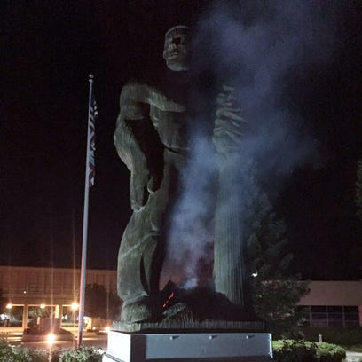 Vandal sets fire to COS Giant