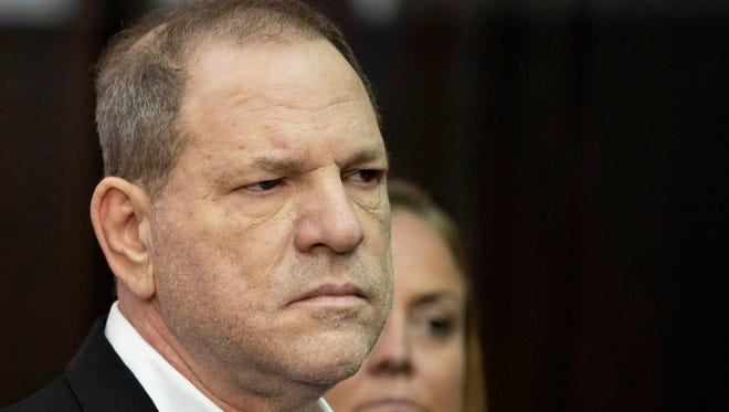 Harvey Weinstein listens during a court proceeding in New York on Friday, May 25, 2018.