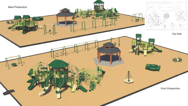 A rendering of the new playground at Manklin Creek Park..