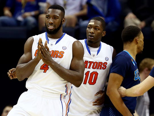 Patric Young #4 of the Florida Gators reacts against the UCLA Bruins during a regional semifinal of the 2014 NCAA Men's Basketball Tournament at the FedExForum on March 27, 2014 in Memphis, Tennessee.