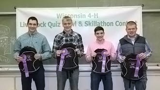 Columbia County 4-H Senior Team – Livestock Quiz Bowl and Skillathon team members are pictured (from left) Justin Taylor, Zach Mickelson, Hayden Taylor, and Tyler Cross.