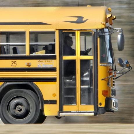 A school bus on its route.